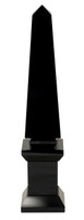 Polished Jet Black Crystal Glass Egyptian Obelisk with Base - 16t X 3.5w X 3.5d Sculpture
