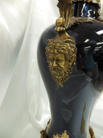 Lyvrich Handmade d'oro Ormolu Preeminent Gilded Porcelain - Vase - Cobalt Blue - 22t X 12.25w X 8 to 9d