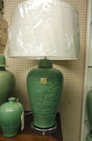 Lyvrich Fine Handcrafted Peerless Porcelain - Round, Potiche Leaf Jar Lamp - Celadon Large Crackle - 35t X 21w X 21d