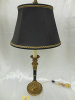 Lyvrich Handmade d'oro Ormolu Conspicuous Porcelain - Candlestick Lamp - Obsidian Black - 33t X 16w X 16d