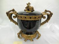 Lyvrich Handmade d'oro Ormolu Conspicuous Porcelain - Jar, Mantel Urn - Obsidian Black - 13.5t X 18w X 9.25d