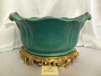 Lyvrich Fine Handcrafted d'oro Ormolu Porcelain - Flower Pot Planter - Turquoise Decorator Crackle - 11t X 19w X 13d