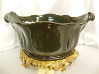 Lyvrich Fine Handcrafted d'oro Ormolu Porcelain - Flower Pot Planter, Centerpiece - Gray | Grey Decorator Solid - 11t X 19w X 13d