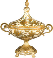 Finely Finished Porcelain and Gilt Ormolu - Golden Gardens Decorative Centerpiece Mantel Urn 12t x 12w x 8d