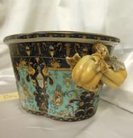 Lyvrich Fine Handcrafted Porcelain - Flower Pot Planter, Pomegranate Centerpiece - Crested Black, Turquoise, Gold - 7.25t X 17w X 12d