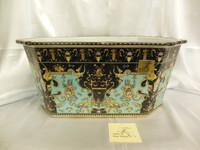 Lyvrich Fine Handcrafted Porcelain - Flower Pot Planter, Octagon Centerpiece - Crested Black, Turquoise, Gold - 9t X 19.5w X 14.25d