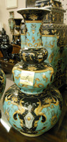 Lyvrich Fine Handcrafted Porcelain - Globular Orb Mantel Vase - Crested Black, Turquoise, Gold - 16t X 8.5w X 8.5d