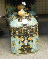 Lyvrich Fine Handcrafted Porcelain - Octagonal Dog and Cat Treat Jar - Crested Black, Turquoise, Gold - 9.5t X 6w X 6d