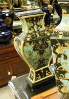 Lyvrich Fine Handcrafted Porcelain - Shallow Elliptique Mantel Vase - Crested Black, Turquoise, Gold - 16.5t X 7.5w X 4.5d