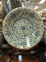 Lyvrich Fine Handcrafted Notable Porcelain - Over Size Plate, Platter - Blue and Solid White Contemporary Orchid - 28t X 24dia.
