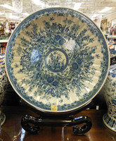 Lyvrich Fine Handcrafted Choice Porcelain - Over Size Plate, Fluted Platter - Blue and Crackle White Toile - Fluted Platter - 28.5t X 24.5dia.