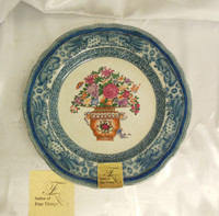 Lyvrich Handcrafted Splendid Porcelain - Serpentine Plate - Still Life Blue Polychrome and Antique Beige Crackle White - 10.5dia.