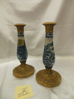 Lyvrich Fine Handcrafted d'oro Ormolu Transcendent Porcelain - Candlestick Pair - Blue and Crackle Antique White Pagoda - 12t X 6w X 6d