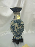 Lyvrich Fine Handcrafted Porcelain - Hexagon Mantel Vase - Toile Blue Floral and Crackle Antique White - 15.5t X 7.5w X 6d