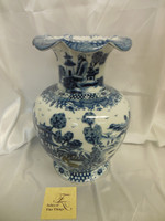 Lyvrich Outstanding Handcraft Porcelain - Scalloped Rim Mantel Vase - Indigo Blue and Solid White Pagoda - 13.5t X 9.75w X 9.75d