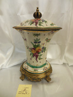 Lyvrich Elegant Handcrafted d'oro Ormolu, Superb Porcelain Centerpiece - Covered Serpentine Jar, Mantel Urn, Seasonal Summer Fruit 16.5t X 11.5w X 10d