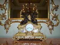 Hand Made Italy - Reproduction Gilt Brass Ormolu - 16.92 Inch Hand Painted Italian Porcelain Clock - Gold Gilt Finish with Franz Hermle Quartz Movement