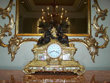 Hand Made Italy - Reproduction Gilt Brass Ormolu - 16.92 Inch Hand Painted Italian Porcelain Clock - Gold Gilt Finish with Franz Hermle Quartz Movement