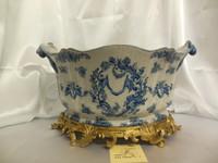 Lyvrich Handcrafted d'oro Ormolu, Consummate Porcelain Flower Pot Planter, Blue and Antique White Crackle Putto Romantique 11t X 19w X 13d
