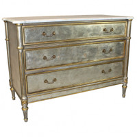 Louis Seize French Neo Classical Period Louis XVI - 44 Inch Handcrafted Reproduction Versailles Marble Topped Commode | Entry Chest | Dresser - Metallic Silver Luxurie Furniture Finish NF15 with Gold Accents