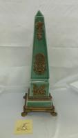 Lyvrich Fine Handcrafted d'oro Ormolu Porcelain - Obelisk Sculpture - Celadon Large Crackle - 20t X 7.5w X 7.5d