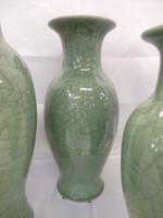 Lyvrich Fine Handcrafted Porcelain - Round Vase - Celadon Large Crackle - 13t X 6w X 6d