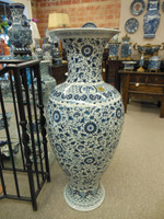 Lyvrich Fine Handcrafted Porcelain - Blue and White Floor Vase - Blu e Bianco Floral Scroll - Extra Large, Palace Size - 48t X 21w X 21d