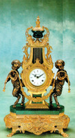Handmade in Italy - Imperial Italian Marble Clock, d'Oro Ormolu - French Gold Gilt and Bronze - Verde Delle Alpi, Green Marble - Reproduction 24.40t x 8.66d X 14.17w