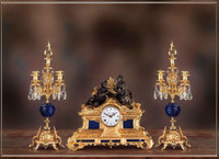 Antique Style French Louis Crystal and Lapis Lazuli, d'Oro Ormolu Garniture - Mantel, Table Clock, Five Light Candelabra Set - 24k Gold Patina - Handmade Reproduction of a 17th, 18th Century Dore Bronze Antique, 6264