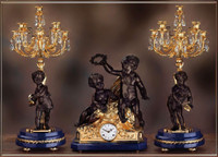 Antique Style French Louis Crystal and Lapis Lazuli, d'Oro Ormolu Garniture Mantel, Table Clock, Nine Light Candelabra Set - 24k Gold Patina - Handmade Reproduction of a 17th, 18th Century Dore Bronze Antique, 6265