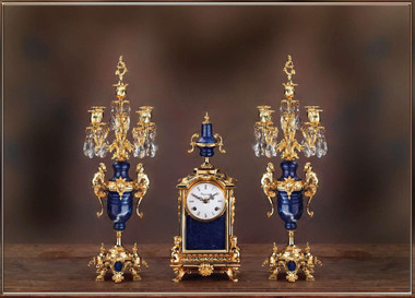 A Crystal and Lapis Lazuli, d'Oro Ormolu Garniture - Imperial Mantel Clock, 5 Branch Candelabra Set - Handmade in Italy - 24k Gold Patina - Tabletop Reproduction 16.53t X 4.72d X 7.08w and 19.68t X 6.29d X 6.29w