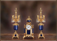 Antique Style French Louis Crystal and Lapis Lazuli, d'Oro Ormolu Garniture Mantel, Table Clock, Five Light Candelabra Set - 24k Gold Patina - Handmade Reproduction of a 17th, 18th Century Dore Bronze Antique, 6267