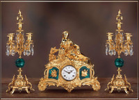 A Crystal and Malachite, d'Oro Ormolu Garniture - Imperial Mantel Clock, 5 Branch Candelabra Set - Handmade in Italy - 24k Gold Patina - Tabletop Reproduction 14.56t X 5.90d X 16.44w and 19.68t X 8.66d X 8.66w