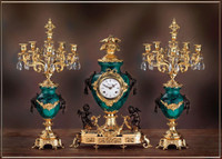 A Crystal and Malachite, d'Oro Ormolu Garniture - Imperial Mantel Clock, 6 Branch Candelabra Set - Handmade in Italy - 24k Gold, Polychrome Patina - Tabletop Reproduction 21.25t X 4.33d X 16.14w and 23.62t X 12.20d X 12.20w