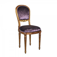 Marie Therese Charlotte French Neo Classical Period Louis XVI - 36 Inch Handcrafted Reproduction Versailles Dining Side | Accent | Desk Chair - Velvet Upholstery 067 - Metallic Gold Luxurie Furniture Finish NF9