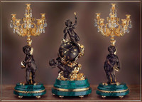 A Crystal and Malachite, d'Oro Ormolu Garniture - Imperial Mantel Clock, 9 Branch Candelabra Set - Handmade in Italy - 24k Gold, Polychrome Patina - Tabletop Reproduction 29.52t X 10.23d X 14.17w and 30.70t X 12.59d X 12.59w