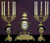 A Porcelain, Blu Cobalto, d'Oro Ormolu Garniture - Imperial Mantel Clock, 6 Branch Candelabra Set - Handmade in Italy - French Gold, Polychrome Patina - Tabletop Reproduction 21.25t X 4.33d X 16.14w and 23.62t X 12.20d X 12.20w
