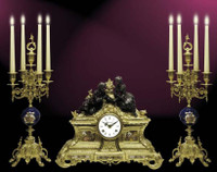 A Porcelain, Blu Cobalto, d'Oro Ormolu Garniture - Imperial Victor Hugo Mantel Clock, 5 Branch Candelabra Set - Handmade in Italy - French Gold, Polychrome Patina - Tabletop Reproduction 14.17t X 4.72d X 16.92w and 19.68t X 8.66d X 8.66w