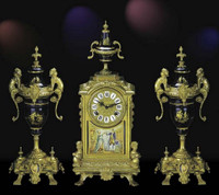 A Porcelain, Blu Cobalto, d'Oro Ormolu Garniture - Imperial Mantel Clock, Urn Set - Handmade in Italy - French Gold Patina - Tabletop Reproduction 16.53t X 4.72d X 7.06w and 14.56t X 6.29d X 6.29w