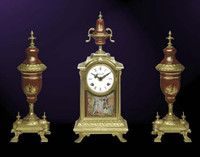 A Porcelain, Rosso Bordeaux, d'Oro Ormolu Garniture - Imperial Mantel Clock, Urn Set - Handmade in Italy - French Gold Patina - Tabletop Reproduction 16.53t X 4.72d X 7.06w and 14.56t X 6.29d X 6.29w