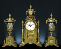 A Porcelain, Blu Cobalto, d'Oro Ormolu Garniture - Imperial Mantel Clock, Urn Set - Handmade in Italy - French Gold Patina - Tabletop Reproduction 16.92t X 4.72d X 9.44w and 13.38t X 5.51d X 5.51w