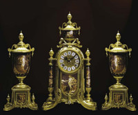 A Porcelain, Rosso Bordeaux, d'Oro Ormolu Garniture - Imperial Mantel Clock, Urn Set - Handmade in Italy - French Gold Patina - Tabletop Reproduction 16.92t X 4.72d X 9.44w and 13.38t X 5.51d X 5.51w