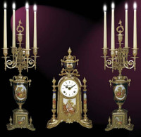 A Porcelain, Blu Cobalto, d'Oro Ormolu Garniture - Imperial Mantel Clock, 5 Branch Candelabra Set - Handmade in Italy - French Gold Patina - Tabletop Reproduction 16.92t X 4.72d X 9.44w and 22.83t X 8.66d X 8.66w