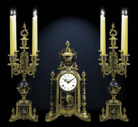 A Porcelain, Blu Cobalto, d'Oro Ormolu Garniture - Imperial Mantel Clock, 5 Branch Candelabra Set - Handmade in Italy - French Gold Patina - Tabletop Reproduction 16.92t X 4.72d X 9.44w and 19.68t X 8.66d X 8.66w