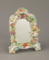 "Meissen Style, Romantic Porcelain Looking Glass Tabletop Mirror, German Rococo Blumen, Kleinkinder und Gold, 8.6""t X 6""w X 1""d, 6284"