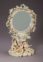 "Meissen Style, Romantic Porcelain Looking Glass, Vanity Pedestal Mirror, Flower, Musical Putti and Gold, German Rococo Blumen, Musik Putten und Gold, 18""t X 11""w X 8""d, 6285"