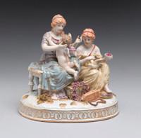 ***| Meissen Style | Romantic Porcelain Sculpture | Women with Putto | 9t X 9w X 7.25d German Rococo Frauen mit Putto