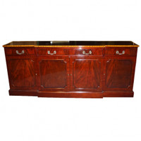 English | American - 86 Inch Handcrafted Reproduction Breakfront | Sideboard | Buffet - Satinwood and Mahogany Luxurie Furniture Finish M
