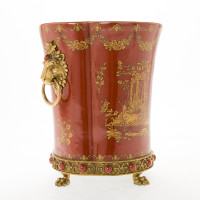 ***Lyvrich d'Elegance, Porcelain and Gilded Dior Ormolu | Glen Cove Centerpiece Vase | Warm Red and Gold Jeweled Chinoiserie | 12.00t X 10.05w X 10.05d | 6294