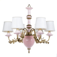 ***Lyvrich d'Elegance, Bone China and Gilded Dior Ormolu | Montauk, Pink and Gold | 6 light, Chandelier | 26.79t X 25.81L X 25.81d | 6300